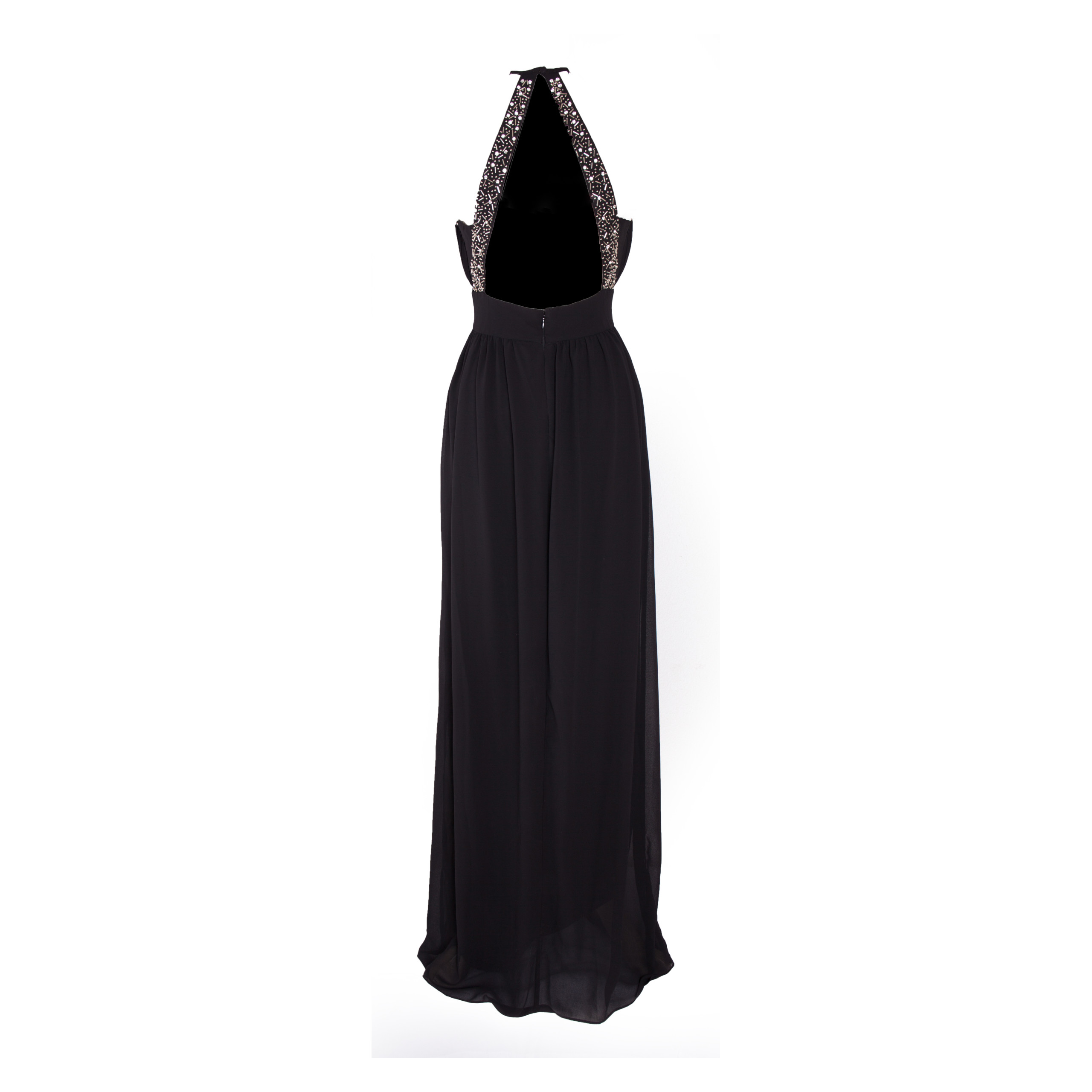 black chiffon rückenfreies abendkleid (d-062)