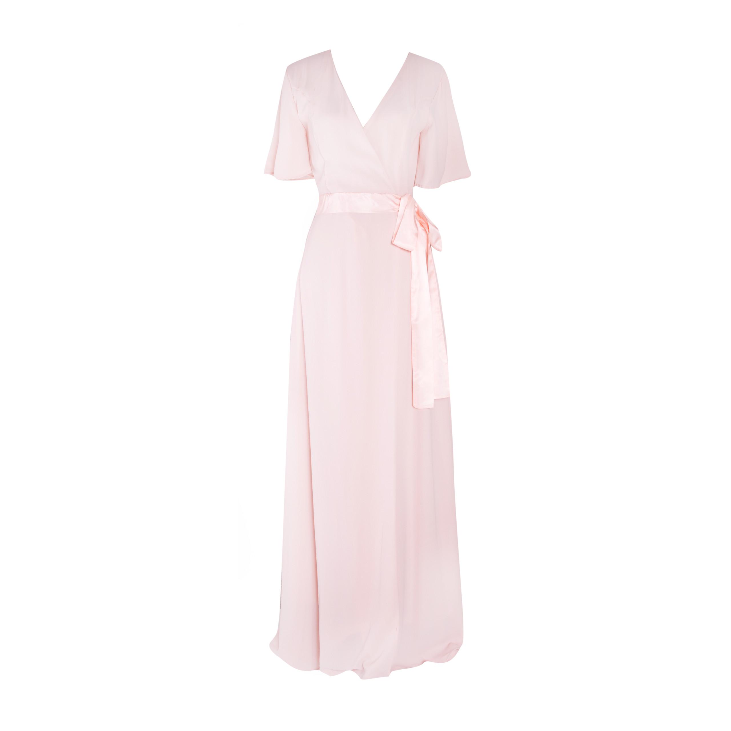 Pink Chiffon Wickel-Abendkleid (D-11)